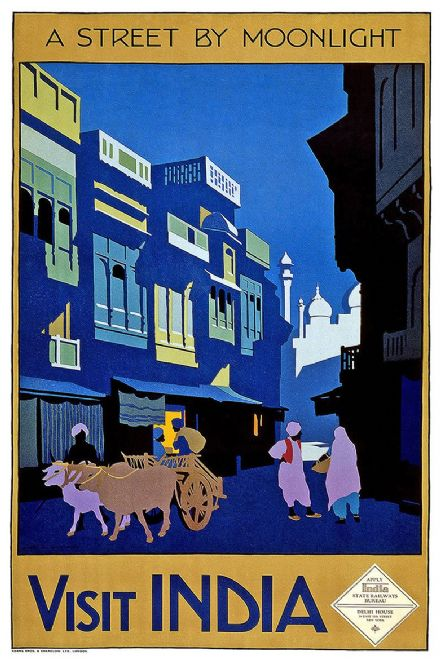 Visit India: A Street by Moonlight.  Vintage Travel Print/Poster. Sizes: A4/A3/A2/A1 (002698)